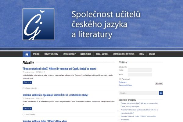 Editace webových stránek – Společnost učitelů českého jazyka a literatury