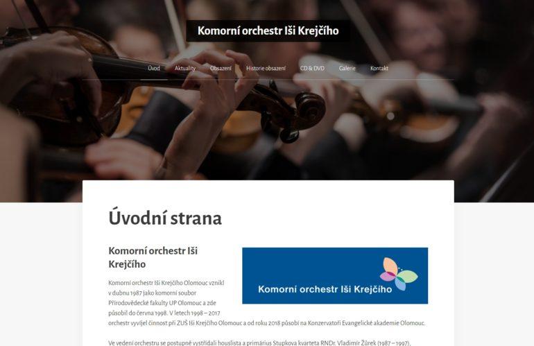 Návrh a realizace webových stránek – Komorní orchestr Iši Krejčího